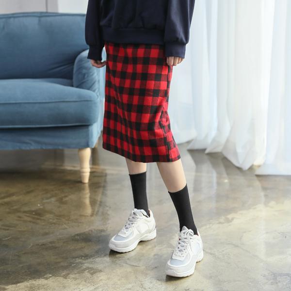 (SK-3300)ギンガムチェックバンディングスカート