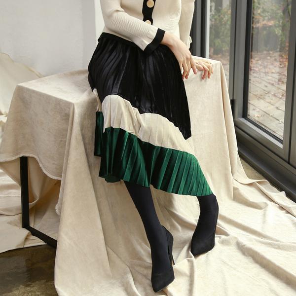 (SK-3215)ベルベットカラーブロックプリッツスカート