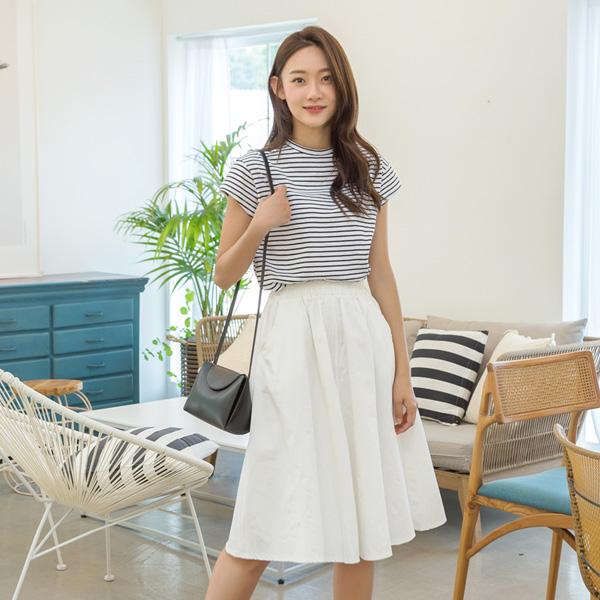 (SK-3462)ポケットワイドバンディングスカート