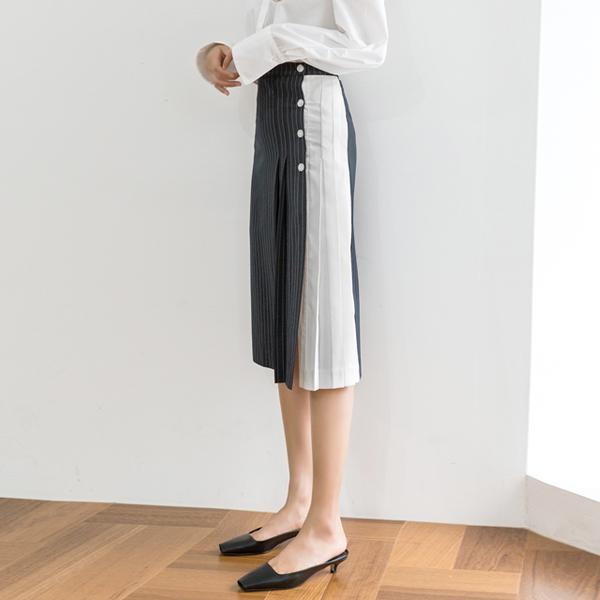 (SK-3415)ハーフ配色プリッツスカート