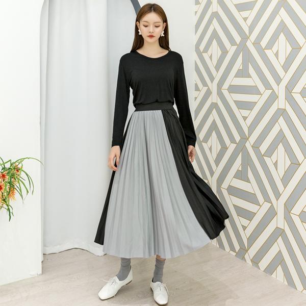 (SK-3577)ハーフカラーミックスド・バンディングスカート