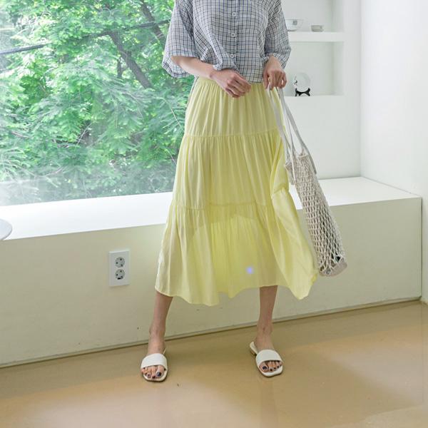 (SK-3467)シャインカラーバンディングロングスカート