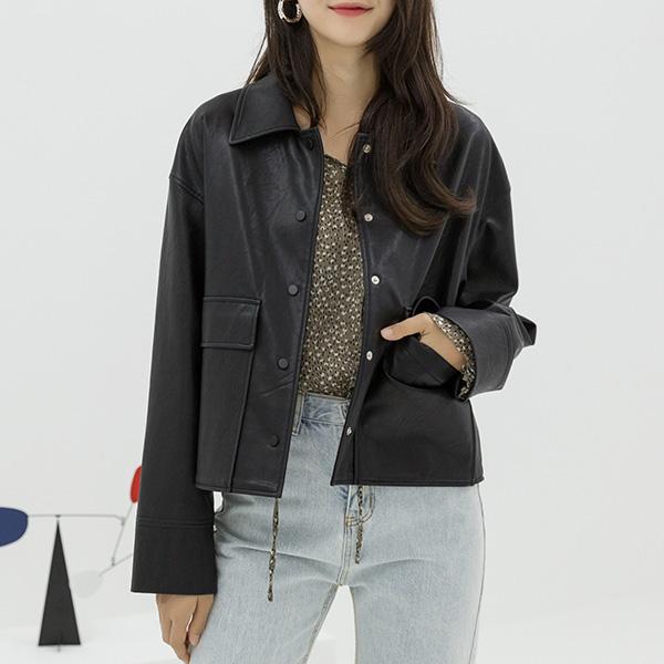 (JK-2018)エコレザーシャツジャケット