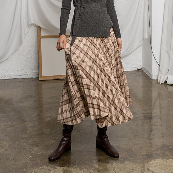 (SK-3647)ウールチェックパタンプリッツスカート