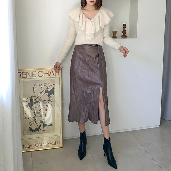 (SK-3740)ベルトレザーバンディングスカート